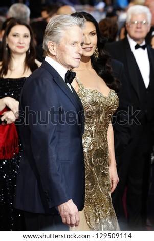 LOS ANGELES, CA - FEB 24: Michael Douglas, Catherine Zeta Jones at the 85th Annual Academy Awards on February 24, 2013 in Los Angeles, California - stock photo