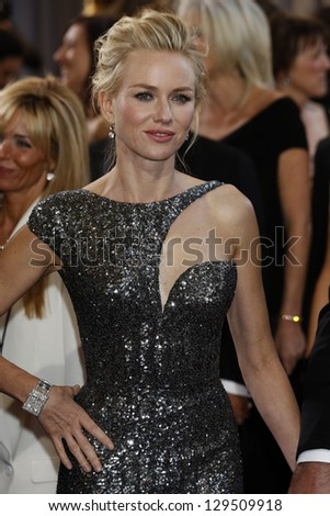 LOS ANGELES, CA - FEB 24: Naomi Watts at the 85th Annual Academy Awards on February 24, 2013 in Los Angeles, California - stock photo