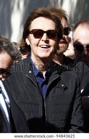 LOS ANGELES, CA - FEB 9: Paul McCartney at a ceremony where Paul McCartney is honored with a star on The Hollywood Walk Of Fame on February 9, 2012 in Los Angeles, California