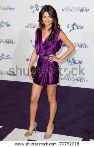 LOS ANGELES, CA - FEB 8: Selena Gomez arrives at the Paramount Pictures Justin Bieber: Never Say Never premiere at Nokia Theater L.A. Live on February 8, 2011 in Los Angeles, California. - stock photo