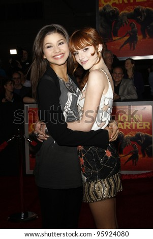 LOS ANGELES, CA - FEB 22: Zendaya; Bella Thorne at the world premiere of 'John Carter' on February 22, 2012 at Regal Cinemas in downtown in Los Angeles, California