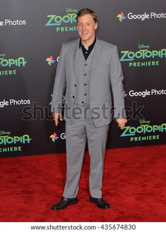 "LOS ANGELES, CA - FEBRUARY 17, 2016: Actor Alan Tudyk at the premiere of Disney's ""Zootopia"" at the El Capitan Theatre, Hollywood.