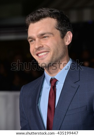 "LOS ANGELES, CA - FEBRUARY 1, 2016: Actor Alden Ehrenreich at the world premiere of ""Hail Caesar!"" at the Regency Village Theatre, Westwood."