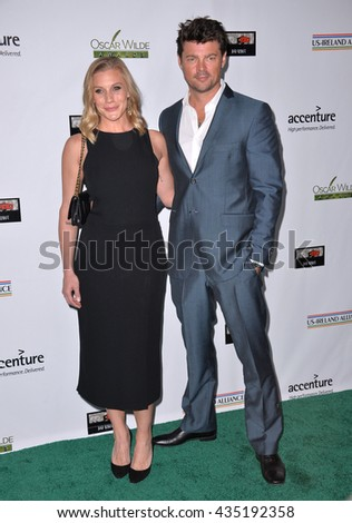 LOS ANGELES, CA - FEBRUARY 25, 2016: Actor Karl Urban & actress Katee Sackhoff at the US-Ireland Alliance's 11th Annual Oscar Wilde pre-Academy Awards event honoring the Irish in Film.