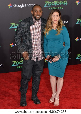 "LOS ANGELES, CA - FEBRUARY 17, 2016: Actress Allison Holker & husband actor Stephen Boss at the premiere of Disney's ""Zootopia"" at the El Capitan Theatre, Hollywood.