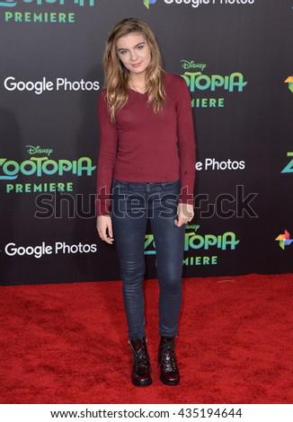 "LOS ANGELES, CA - FEBRUARY 17, 2016: Actress Brighton Sharbino at the premiere of Disney's ""Zootopia"" at the El Capitan Theatre, Hollywood. - stock photo"