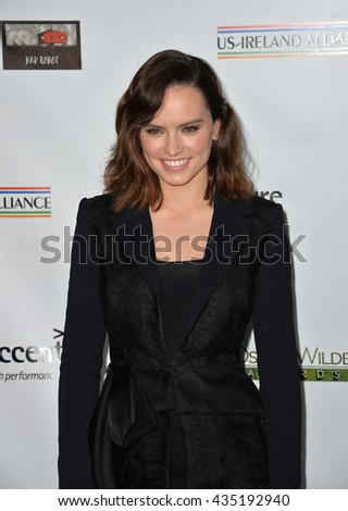 LOS ANGELES, CA - FEBRUARY 25, 2016: Actress Daisy Ridley at the US-Ireland Alliance's 11th Annual Oscar Wilde pre-Academy Awards event honoring the Irish in Film.  - stock photo