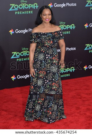 "LOS ANGELES, CA - FEBRUARY 17, 2016: Actress Garcelle Beauvais at the premiere of Disney's ""Zootopia"" at the El Capitan Theatre, Hollywood.