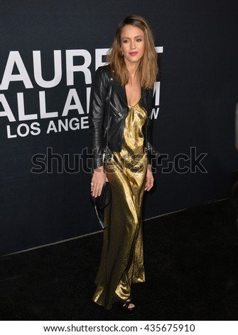 LOS ANGELES, CA - FEBRUARY 10, 2016: Actress Jessica Alba arriving at the Saint Laurent at the Palladium fashion show at the Hollywood Palladium.