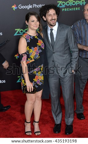 "LOS ANGELES, CA - FEBRUARY 17, 2016: Actress Katie Lowes & husband actor Adam Shapiro at the premiere of Disney's ""Zootopia"" at the El Capitan Theatre, Hollywood. - stock photo"