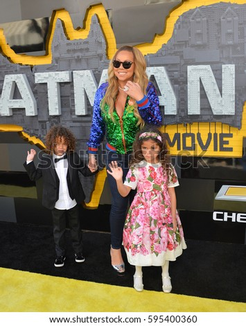 "LOS ANGELES, CA. February 4, 2017: Actress/singer Mariah Carey & children at the world premiere of ""The Lego Batman Movie"" at the Regency Village Theatre, Westwood"