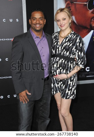"LOS ANGELES, CA - FEBRUARY 24, 2015: Alfonso Ribeiro & wife Angela at the Los Angeles premiere of ""Focus"" at the TCL Chinese Theatre, Hollywood."