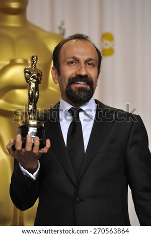 LOS ANGELES, CA - FEBRUARY 26, 2012: Asghar Farhadi, winner of Best Foreign Language Film for A Separation (Iran), at the 82nd Academy Awards at the Hollywood & Highland Theatre, Hollywood.