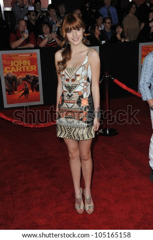 "LOS ANGELES, CA - FEBRUARY 22, 2012: Bella Thorne at the world premiere of ""John Carter"" at the Regal Cinemas L.A. Live. February 22, 2012  Los Angeles, CA"