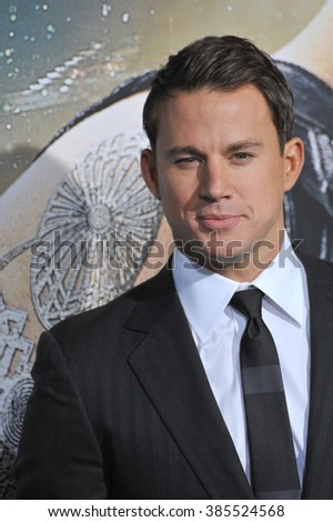 "LOS ANGELES, CA - FEBRUARY 2, 2015: Channing Tatum at the Los Angeles premiere of his movie ""Jupiter Ascending"" at the TCL Chinese Theatre, Hollywood. - stock photo"