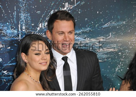 """LOS ANGELES, CA - FEBRUARY 2, 2015: Channing Tatum & Mila Kunis at the Los Angeles premiere of their movie """"Jupiter Ascending"""" at the TCL Chinese Theatre, Hollywood.  - stock photo"""