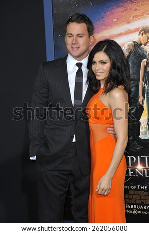 """LOS ANGELES, CA - FEBRUARY 2, 2015: Channing Tatum & wife Jenna Dewan-Tatum at the Los Angeles premiere of his movie """"Jupiter Ascending"""" at the TCL Chinese Theatre, Hollywood.  - stock photo"""