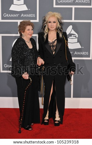 LOS ANGELES, CA - FEBRUARY 12, 2012: Cyndi Lauper & guest at the 54th Annual Grammy Awards at the Staples Centre, Los Angeles. February 12, 2012  Los Angeles, CA