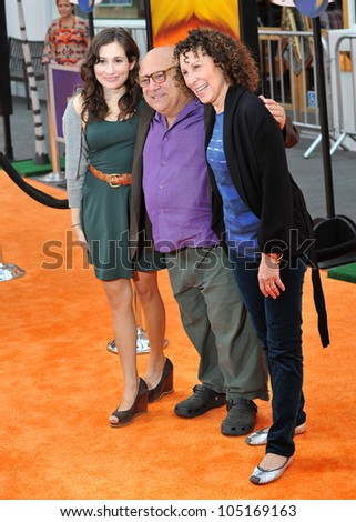 "LOS ANGELES, CA - FEBRUARY 19, 2012: Danny DeVito & wife Rhea Perlman & daughter Lucy DeVito at the world premiere of ""Dr. Suess' The Lorax"" at Universal Studios. February 19, 2012  Los Angeles, CA"