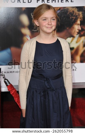 """LOS ANGELES, CA - FEBRUARY 9, 2015: Elsie Fisher at the world premiere of her movie """"McFarland USA"""" at the El Capitan Theatre, Hollywood.  - stock photo"""