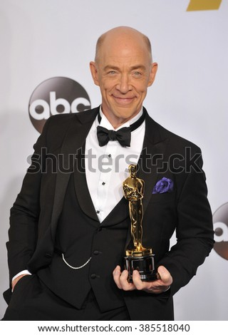 LOS ANGELES, CA - FEBRUARY 22, 2015: J.K. Simmons at the 87th Annual Academy Awards at the Dolby Theatre, Hollywood.