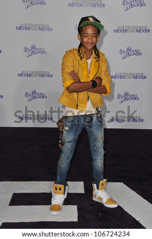 "LOS ANGELES, CA - FEBRUARY 8, 2011: Jaden Smith at the Los Angeles premiere of ""Justin Bieber: Never Say Never"" at the Nokia Theatre LA Live. February 8, 2011  Los Angeles, CA - stock photo"