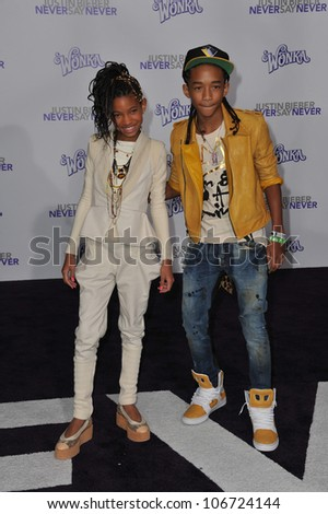 "LOS ANGELES, CA - FEBRUARY 8, 2011: Jaden Smith & sister Willow Smith at the Los Angeles premiere of ""Justin Bieber: Never Say Never"" at the Nokia Theatre LA Live. February 8, 2011  Los Angeles, CA - stock photo"
