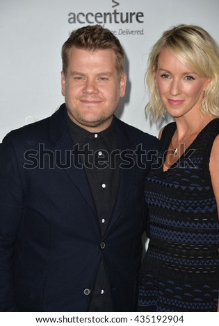LOS ANGELES, CA - FEBRUARY 25, 2016: James Corden & wife Julia Carey at the US-Ireland Alliance's 11th Annual Oscar Wilde pre-Academy Awards event honoring the Irish in Film.  - stock photo