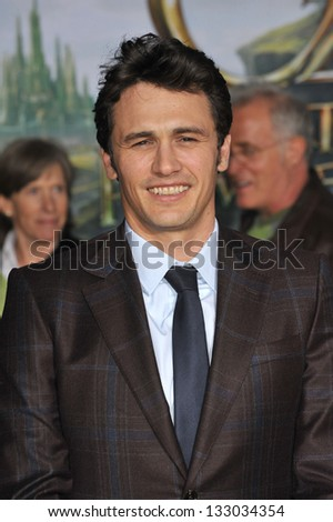 """LOS ANGELES, CA - FEBRUARY 13, 2013: James Franco at the world premiere of his movie """"Oz: The Great and Powerful"""" at the El Capitan Theatre, Hollywood. - stock photo"""