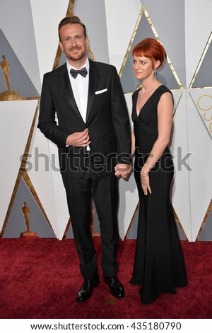LOS ANGELES, CA - FEBRUARY 28, 2016: Jason Segel & Alexis Minter at the 88th Academy Awards at the Dolby Theatre, Hollywood.