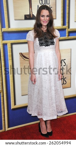 LOS ANGELES, CA - FEBRUARY 14, 2015: Keira Knightley at the 2015 Writers Guild Awards at the Hyatt Regency Century Plaza Hotel.  - stock photo