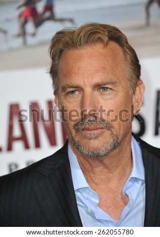 "LOS ANGELES, CA - FEBRUARY 9, 2015: Kevin Costner at the world premiere of his movie ""McFarland USA"" at the El Capitan Theatre, Hollywood."