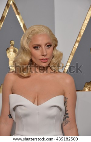 LOS ANGELES, CA - FEBRUARY 28, 2016: Lady Gaga at the 88th Academy Awards at the Dolby Theatre, Hollywood.