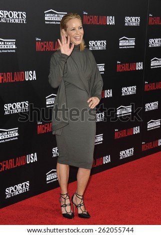 """LOS ANGELES, CA - FEBRUARY 9, 2015: Maria Bello at the world premiere of her movie """"McFarland USA"""" at the El Capitan Theatre, Hollywood.  - stock photo"""