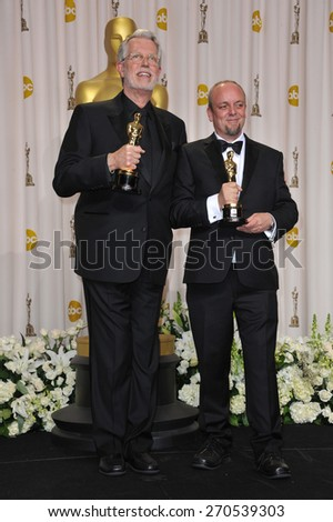 LOS ANGELES, CA - FEBRUARY 26, 2012: Mark Coulier & J. Roy Helland, winners for Best Makeup for The Iron Lady, at the 82nd Academy Awards at the Hollywood & Highland Theatre, Hollywood.