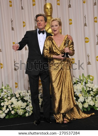 LOS ANGELES, CA - FEBRUARY 26, 2012: Meryl Streep & Colin Firth at the 82nd Academy Awards at the Hollywood & Highland Theatre, Hollywood.