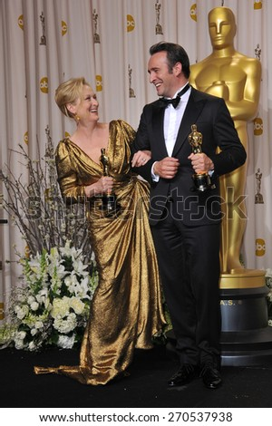 LOS ANGELES, CA - FEBRUARY 26, 2012: Meryl Streep & Jean DuJardin at the 82nd Academy Awards at the Hollywood & Highland Theatre, Hollywood.  - stock photo