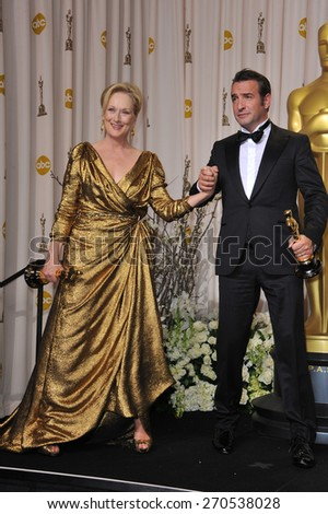 LOS ANGELES, CA - FEBRUARY 26, 2012: Meryl Streep & Jean DuJardin at the 82nd Academy Awards at the Hollywood & Highland Theatre, Hollywood.