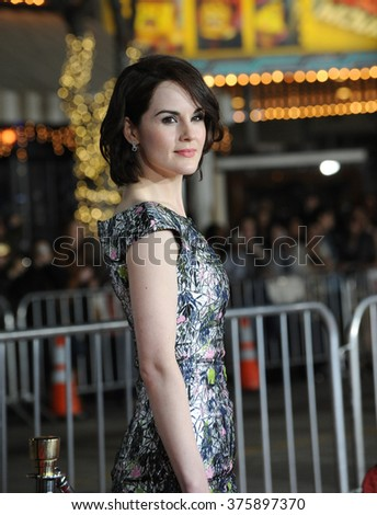 "LOS ANGELES, CA - FEBRUARY 24, 2014: Michelle Dockery at the world premiere of her movie ""Non-Stop"" at the Regency Village Theatre, Westwood."