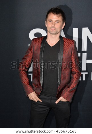 LOS ANGELES, CA - FEBRUARY 10, 2016: Musician Matt Bellamy arriving at the Saint Laurent at the Palladium fashion show at the Hollywood Palladium.