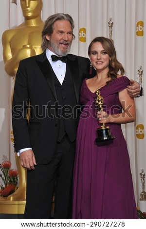 LOS ANGELES, CA - FEBRUARY 27, 2011: Natalie Portman & Jeff Bridges at the 83rd Academy Awards at the Kodak Theatre, Hollywood.