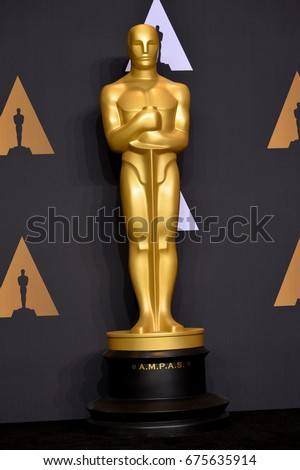 LOS ANGELES, CA - FEBRUARY 26, 2017: Oscar statue in the photo room at the 89th Annual Academy Awards at Dolby Theatre, Los Angeles