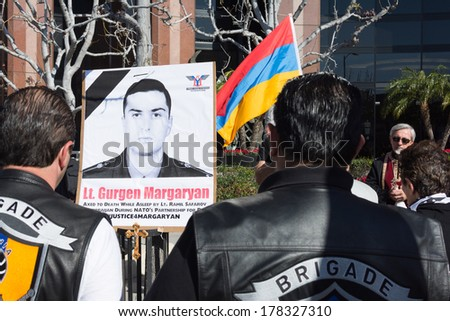 LOS ANGELES,CA - FEBRUARY 23: People protesting at the Consulate of Azerbaijan in Memory of Gurgen Margaryan and in Commemoration of Sumgait Massacres on February 23, 2014 in Los Angeles, CA.