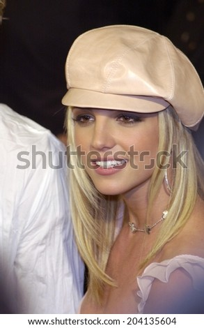 LOS ANGELES, CA - FEBRUARY 11, 2002: Pop star BRITNEY SPEARS at the world premiere, in Hollywood, of her new movie Crossroads.  - stock photo