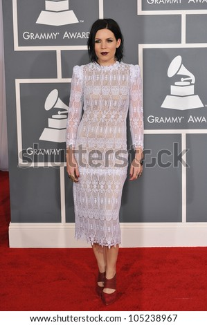 LOS ANGELES, CA - FEBRUARY 12, 2012: Skylar Grey at the 54th Annual Grammy Awards at the Staples Centre, Los Angeles. February 12, 2012  Los Angeles, CA