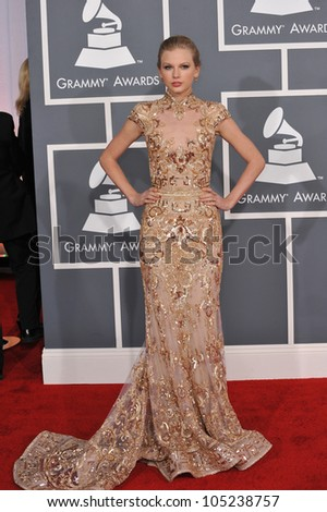 LOS ANGELES, CA - FEBRUARY 12, 2012: Taylor Swift at the 54th Annual Grammy Awards at the Staples Centre, Los Angeles. February 12, 2012  Los Angeles, CA