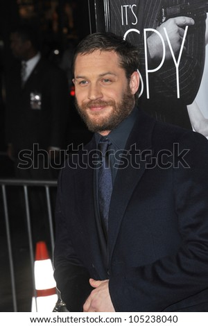 """LOS ANGELES, CA - FEBRUARY 8, 2012: Tom Hardy at the Los Angeles premiere of his new movie """"This Means War"""" at Grauman's Chinese Theatre, Hollywood. February 8, 2012  Los Angeles, CA - stock photo"""