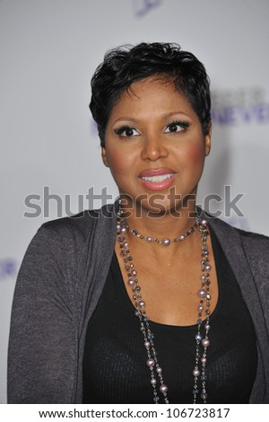 "LOS ANGELES, CA - FEBRUARY 8, 2011: Toni Braxton at the Los Angeles premiere of ""Justin Bieber: Never Say Never"" at the Nokia Theatre LA Live. February 8, 2011  Los Angeles, CA"