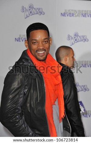 "LOS ANGELES, CA - FEBRUARY 8, 2011: Will Smith at the Los Angeles premiere of ""Justin Bieber: Never Say Never"" at the Nokia Theatre LA Live. February 8, 2011  Los Angeles, CA - stock photo"