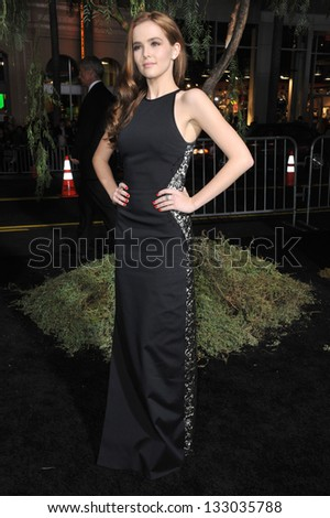 "LOS ANGELES, CA - FEBRUARY 6, 2013: Zoey Deutch at the world premiere of her movie ""Beautiful Creatures"" at the Chinese Theatre, Hollywood."